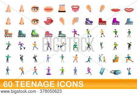 60 Teenage Icons Set. Cartoon Illustration Of 60 Teenage Icons Vector Set Isolated On White Backgrou