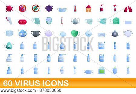 60 Virus Icons Set. Cartoon Illustration Of 60 Virus Icons Vector Set Isolated On White Background
