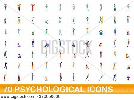 70 Psychological Icons Set. Cartoon Illustration Of 70 Psychological Icons Vector Set Isolated On Wh