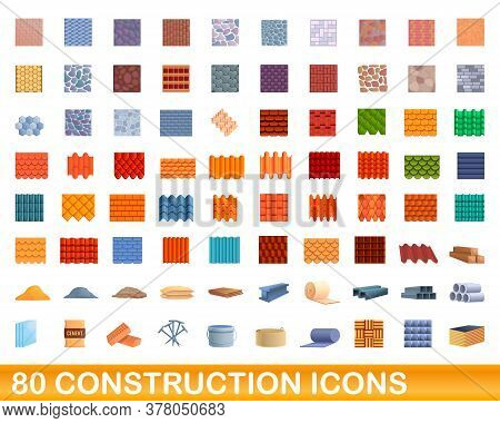 80 Construction Icons Set. Cartoon Illustration Of 80 Construction Icons Vector Set Isolated On Whit