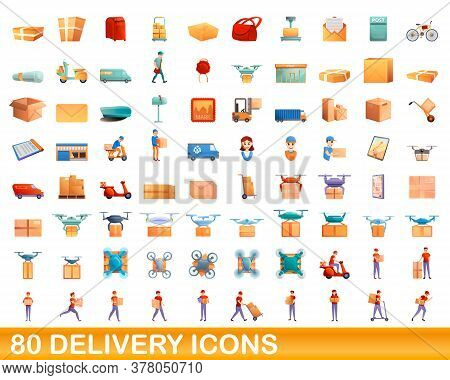 80 Delivery Icons Set. Cartoon Illustration Of 80 Delivery Icons Vector Set Isolated On White Backgr