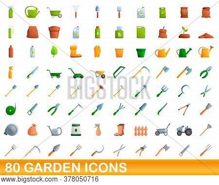 80 Garden Icons Set. Cartoon Illustration Of 80 Garden Icons Vector Set Isolated On White Background