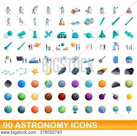 90 Astronomy Icons Set. Cartoon Illustration Of 90 Astronomy Icons Vector Set Isolated On White Back