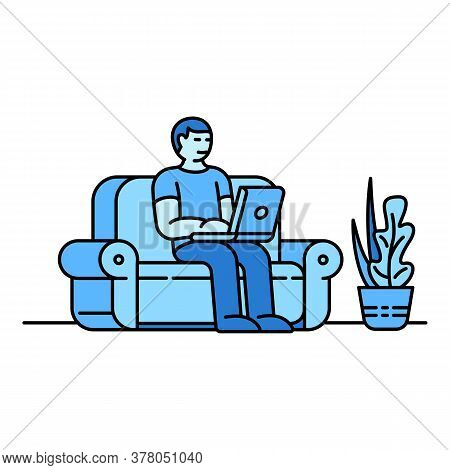 Home Sofa Working Icon. Outline Home Sofa Working Vector Icon For Web Design Isolated On White Backg