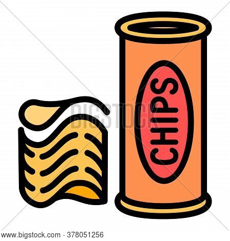Chips Tube Icon. Outline Chips Tube Vector Icon For Web Design Isolated On White Background