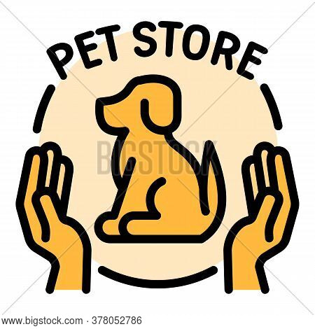 Keep Care Dog Store Logo. Outline Keep Care Dog Store Vector Logo For Web Design Isolated On White B