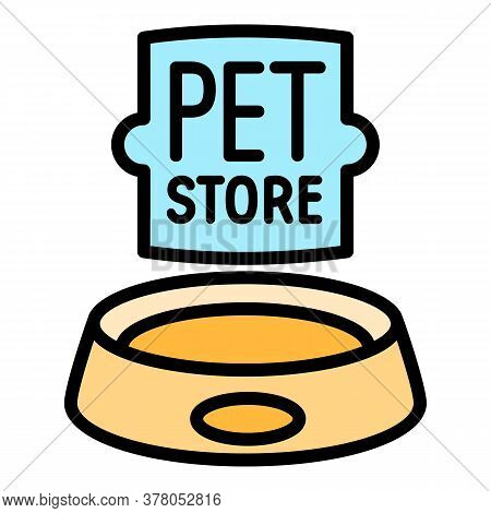 Pet Store Food Plate Logo. Outline Pet Store Food Plate Vector Logo For Web Design Isolated On White