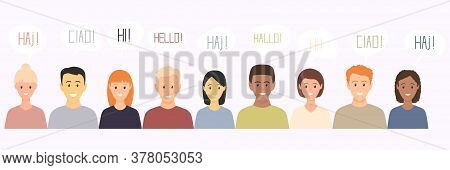 Multiethnic European Young Men And Women Characters Saying Hello In Different Languages. Set Of Mult