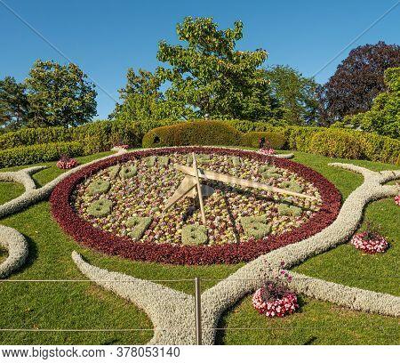 The Famous Clock Of Flowers At English Garden In Geneva - City Of Geneva, Switzerland - July 8, 2020