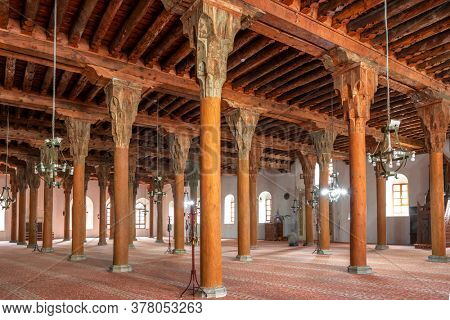 Afyon, Turkey - October 16, 2019: Interior of the Afyonkarahisar Ulu Cami Grand Mosque. Antique Wooden Mosques in Afyon city, Turkey