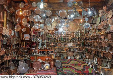 Sarajevo, Bosnia and Herzegovina - August 28, 2019: Traditional souvenir shop with copper products in Old Town of Sarajevo.