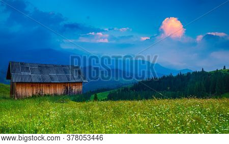 Carpathian Mountains Summer Landscape With Cloudy Sky And House, Natural Summer Travel Background. P