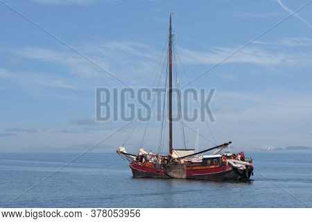 Lelystad, The Netherlands - September 19, 2009: Traditional Wooden Sailing Ship With Passengers Sail