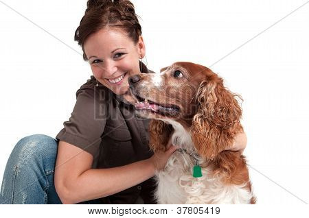 young lady and her dog