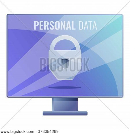 Computer Secured Personal Data Icon. Cartoon Of Computer Secured Personal Data Vector Icon For Web D