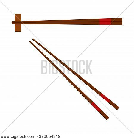 Chinese Wooden Chopsticks Icon Set Isolated On White Background. Pair Of Chopsticks With And Without