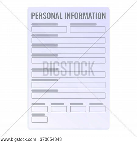 Personal Information Form Icon. Cartoon Of Personal Information Form Vector Icon For Web Design Isol