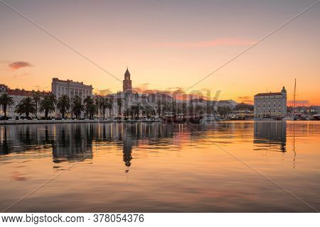 Panorama view of Split town in Croatia at dawn. Split waterfront with an amazing sunrise sky