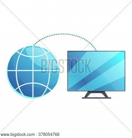 Smart Tv Global Remote Access Icon. Cartoon Of Smart Tv Global Remote Access Vector Icon For Web Des