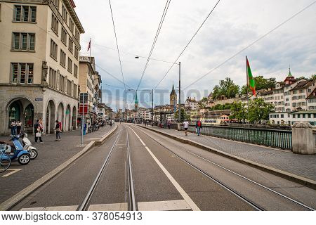 Street View In The City Of Zurich Switzerland - Zurich, Switzerland - July 15, 2020