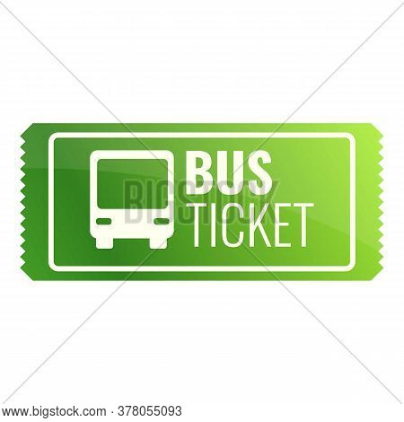 Green Bus Ticket Icon. Cartoon Of Green Bus Ticket Vector Icon For Web Design Isolated On White Back