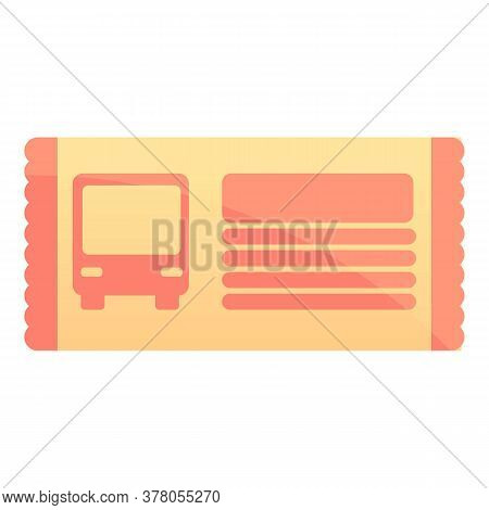 City Bus Ticket Icon. Cartoon Of City Bus Ticket Vector Icon For Web Design Isolated On White Backgr