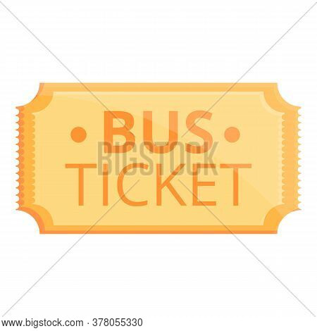 Old Bus Ticket Icon. Cartoon Of Old Bus Ticket Vector Icon For Web Design Isolated On White Backgrou
