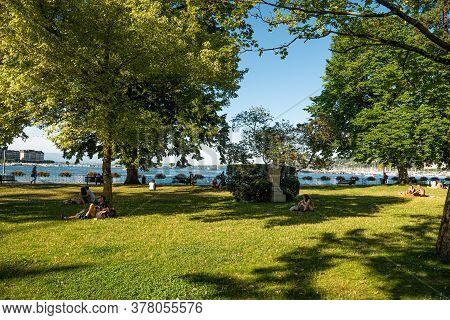 English Garden In Geneva At Lake Geneva In Switzerland - City Of Geneva, Switzerland - July 8, 2020
