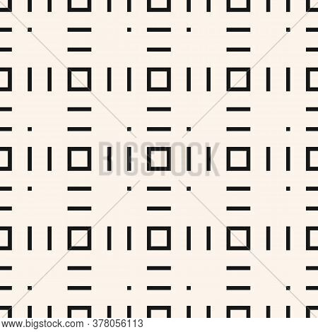 Vector Minimalist Geometric Texture With Small Square Shapes, Lines, Dots. Abstract Modern Seamless