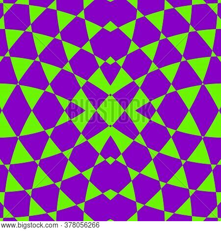 Vector Geometric Seamless Pattern. Abstract Neon Green And Purple Ornament. Crazy Psychedelic Design