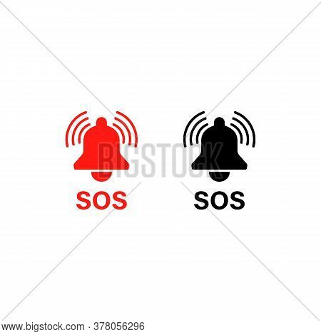 Sos Warning Bell. Sos Icon Emergency Alarm Button. Help. Vector On Isolated White Background. Eps 10