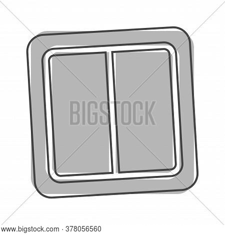 Electrical Switch Vector Icon. Light Switch Icon Cartoon Style On White Isolated Background.