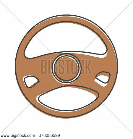 Vector Icon Of Car Steering Wheel Cartoon Style On White Isolated Background.