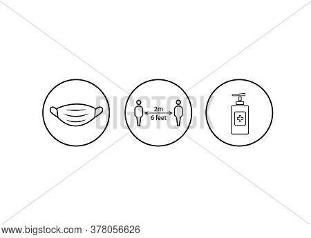 Coronavirus Safety Measures Icons, Precautions For Covid-19 Icons, Face Mask Icon, Social Distancing