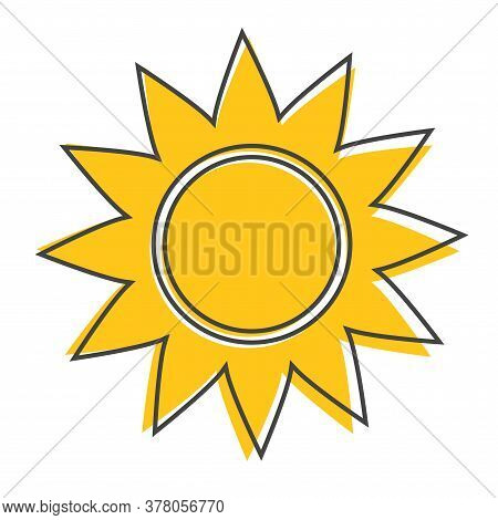 Sun Vector Icon. A Symbol Of The Sky, Good Weather Cartoon Style On White Isolated Background.