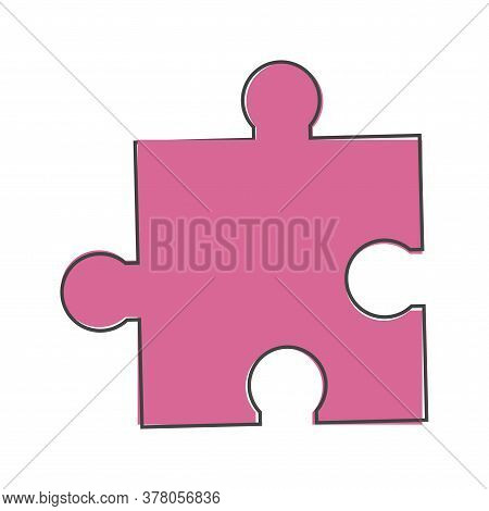 Vector Puzzle Icon Cartoon Style On White Isolated Background.