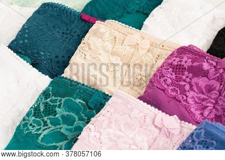 Many Colorful Panties Horizontal Close Up Picture.