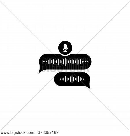 Voice Message Bubble Icon With Sound Wave And Microphone. Voice Messaging Correspondence. Vector On