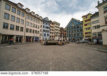 Historic District Of Zurich In Switzerland - Zurich, Switzerland - July 15, 2020