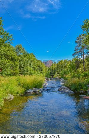 Beautiful View Of Oak Creek A Freshwater Spring In The Oak Creek Canyon Of Coconino National Forest.