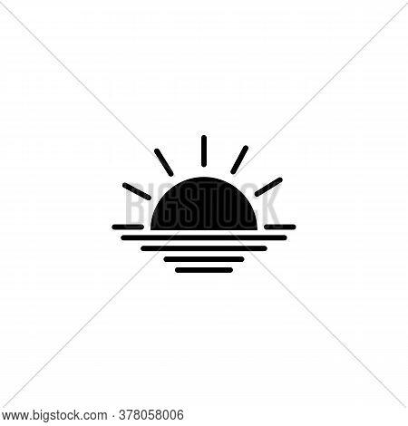 Sunrise Icon. Rising Above The Sea The Sun. Sunset Symbol. Vector On Isolated White Background. Eps
