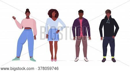 Set People Beautiful Young African American Men Women In Casual Trendy Clothes Female Cartoon Charac