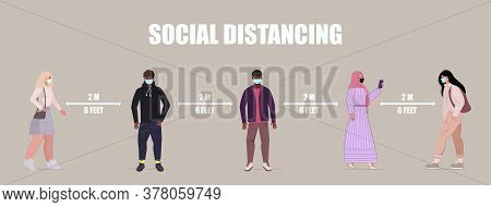 Social Distancing In Public, People Practice Social Distancing To Protect From Covid-19 Coronavirus