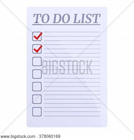 Done Points To Do List Icon. Cartoon Of Done Points To Do List Vector Icon For Web Design Isolated O