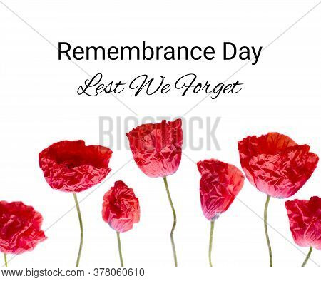 Remembrance Poppy Photo And Lest We Forget The Concept Banner. Anzac Day Also Known As Armistice Day