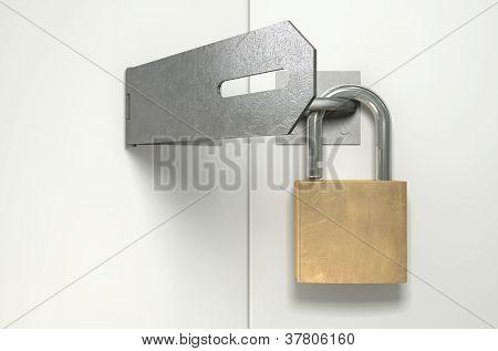 Padlock And Hasp Unlocked Front