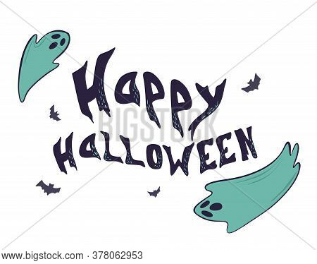 Ghost Character. Halloween Scary Ghostly Monster, Dead Boo Spook And Cute Funny Boohoo Spooky Fly An