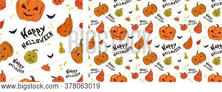 Vector Seamless Pattern For Halloween. Pumpkins On The Halloween Theme. Bright Cartoon Pattern For H