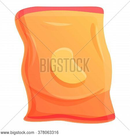 Potato Chips Pack Icon. Cartoon Of Potato Chips Pack Vector Icon For Web Design Isolated On White Ba