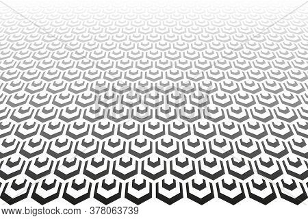 Abstract Geometric Hexagons Pattern. Diminishing Perspective. Textured Background. Vector Art.